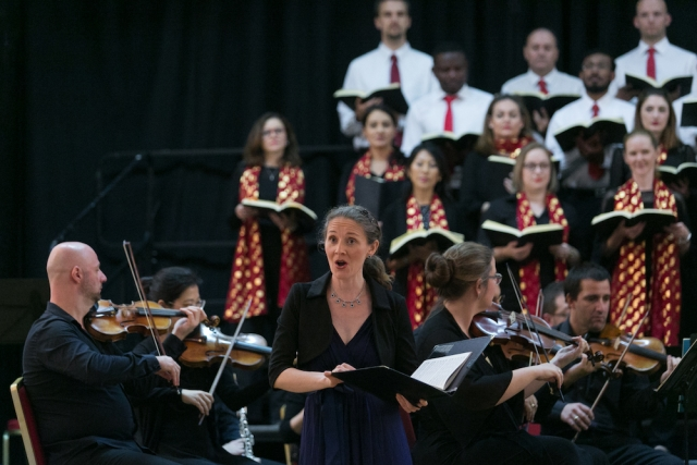 Soprano Lauren Armishaw performing with Qatar Concert Choir