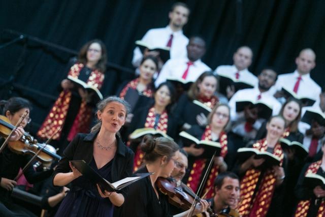 Soprano Lauren Armishaw performing with Qatar Concert Choir