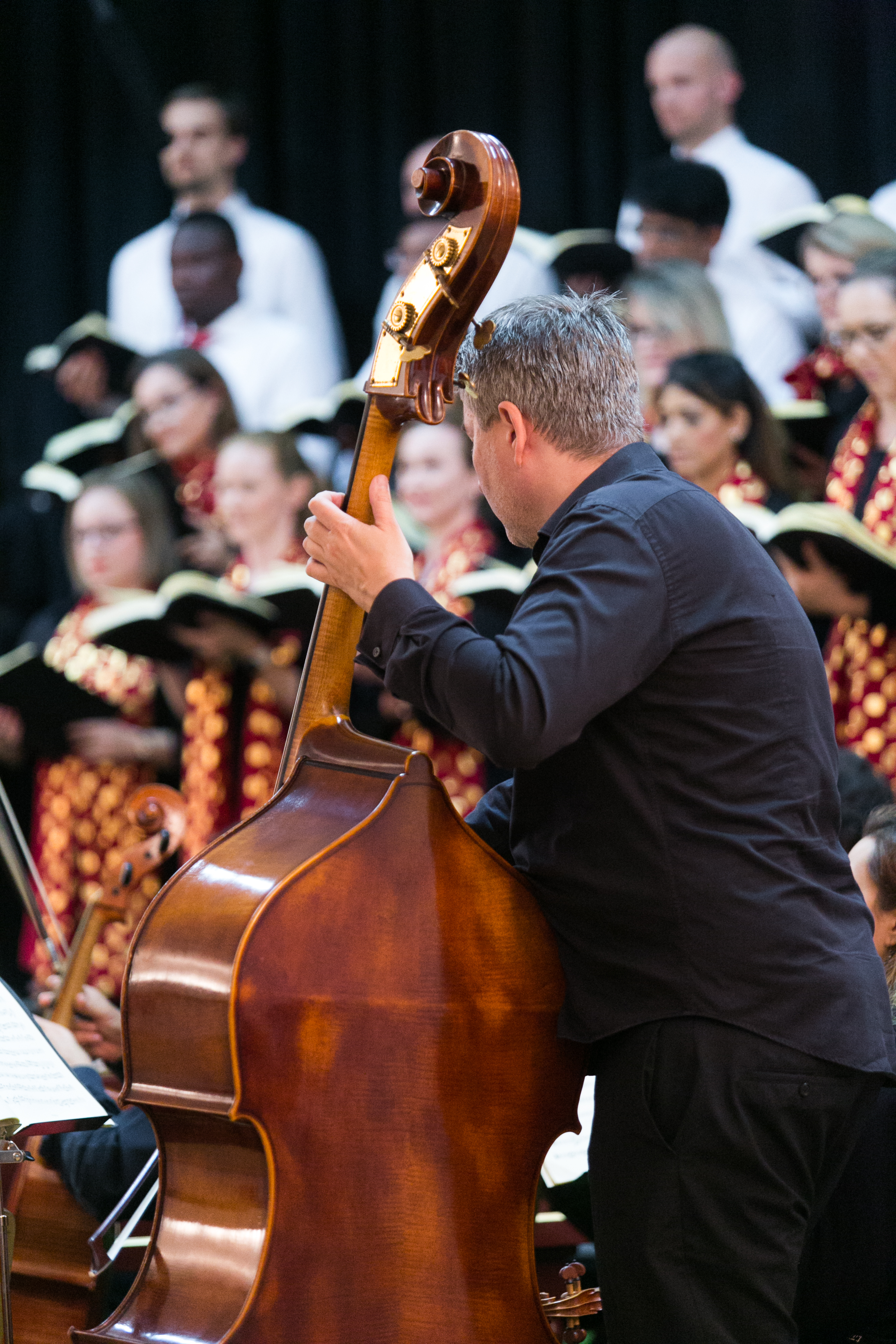 Double Bassist from Qatar Philharmonic Orchestra performing with Qatar Concert Choir