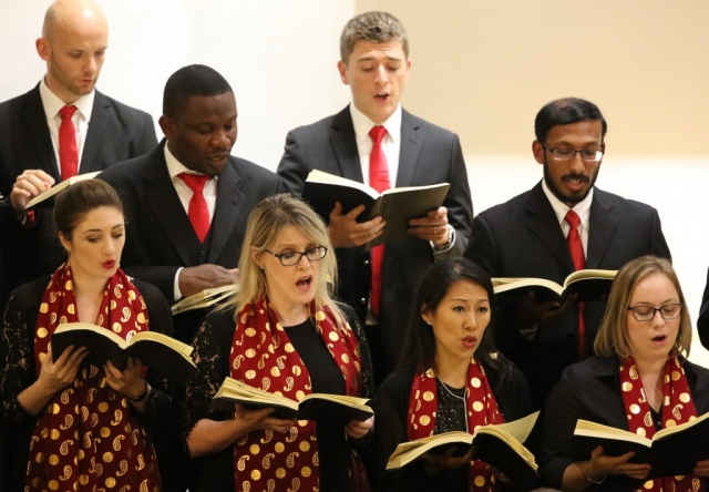 Qatar Concert Choir Basses and Sopranos singing Handel