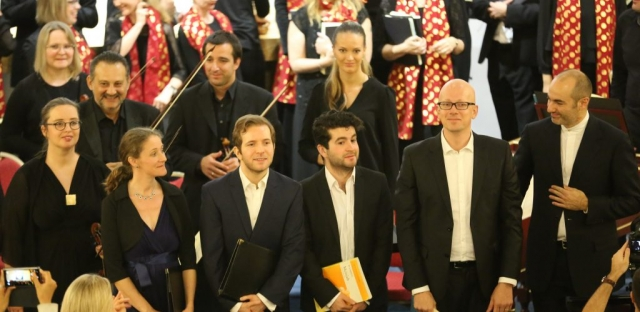 The soloists performing with Qatar Concert Choir take a bow