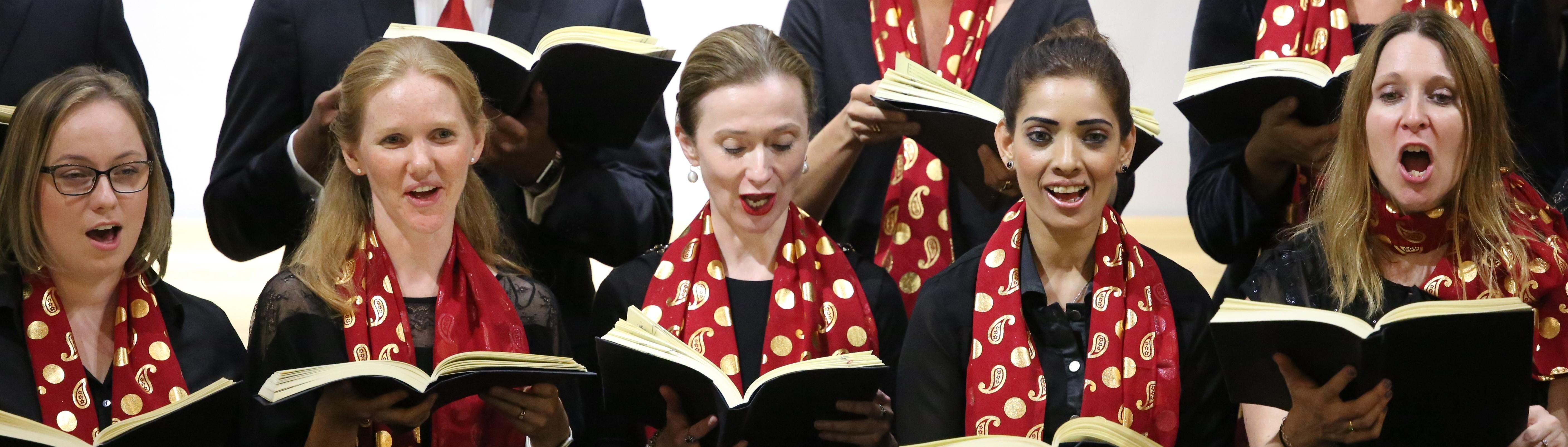 Singers from Qatar Concert Choir performing Handel
